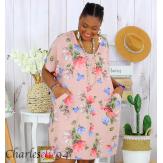 Tunique longue été coton lin grande taille DANKA rose Tunique femme grande taille