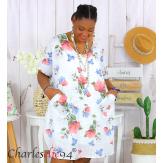 Tunique longue été coton lin grande taille DANKA blanche Tunique femme grande taille