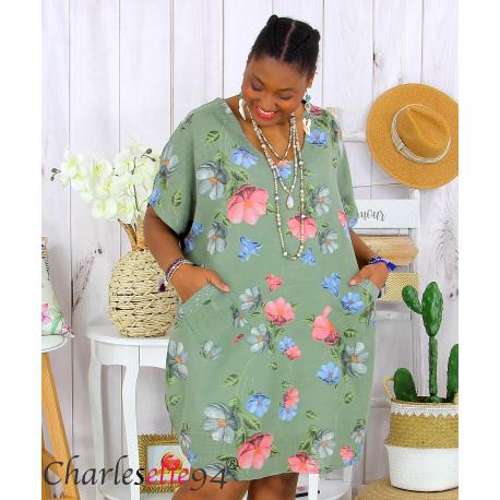 Tunique longue été coton lin grande taille DANKA kaki Tunique femme grande taille