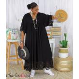 Robe longue dentelle été femme grandes tailles BORIS noire Robe longue grande taille