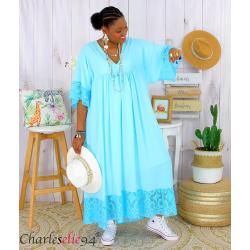 Robe longue dentelle été femme grandes tailles BORIS turquoise Robe longue grande taille