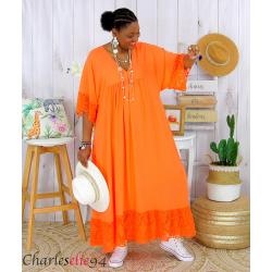 Robe longue dentelle été femme grandes tailles BORIS orange Robe longue grande taille