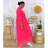 Robe longue dentelle été femme grandes tailles BORIS fushia Robe longue grande taille