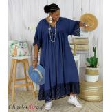 Robe longue dentelle été femme grandes tailles BORIS bleu marine Robe longue grande taille