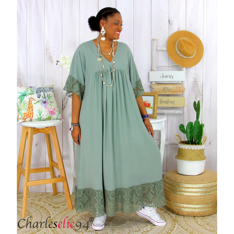 Robe longue dentelle été femme grandes tailles BORIS kaki Robe longue grande taille