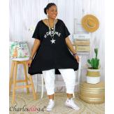Tunique t-shirt long été femme grandes tailles SILVER noir Tee shirt tunique femme grande taille
