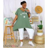 Tunique t-shirt long été femme grandes tailles SILVER kaki Tee shirt tunique femme grande taille