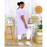 Tunique t-shirt long été femme grandes tailles SILVER parme lilas Tee shirt tunique femme grande taille