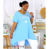 Tunique t-shirt long été femme grandes tailles SILVER bleu ciel Tee shirt tunique femme grande taille