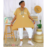 Tunique t-shirt long été femme grandes tailles SILVER camel Tee shirt tunique femme grande taille