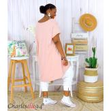 Tunique t-shirt long été femme grandes tailles SILVER rose Tee shirt tunique femme grande taille