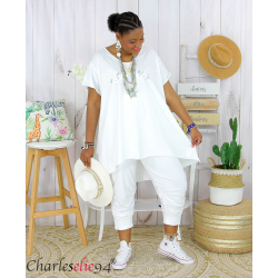 Tunique t-shirt long été femme grandes tailles SILVER blanc Tee shirt tunique femme grande taille