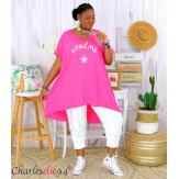 Tunique t-shirt long été femme grandes tailles SILVER fushia Tee shirt tunique femme grande taille