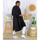 Veste longue capuche sweat femme grandes tailles VIDA noire Veste femme grande taille