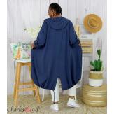 Veste longue capuche sweat été femme grandes tailles VIDA bleu marine Veste femme grande taille