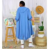 Veste longue capuche sweat été femme grandes tailles VIDA bleu jean Veste femme grande taille