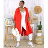 Veste longue capuche sweat été femme grandes tailles VIDA rouge Veste femme grande taille