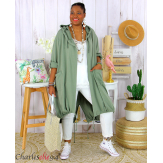 Veste longue capuche sweat été femme grandes tailles VIDA kaki Veste femme grande taille