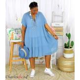 Tunique longue été coton grandes tailles YOUPI bleu jean Tunique été femme