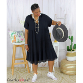 Tunique longue été coton froissé grandes tailles YOUPI noire Tunique été femme