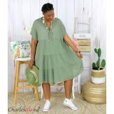 Tunique longue été coton froissé grandes tailles YOUPI kaki Tunique été femme
