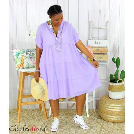 Tunique longue été coton froissé grandes tailles YOUPI lilas Tunique été femme