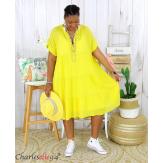 Tunique longue été coton froissé grandes tailles YOUPI jaune Tunique été femme