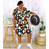Robe tunique été grande taille fleurs LOREA noire Robe tunique femme grande taille
