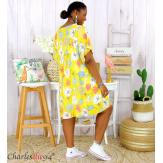 Robe tunique été grande taille fleurs LOREA jaune Robe tunique femme grande taille