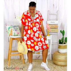Robe tunique été grande taille fleurs LOREA rouge Robe tunique femme grande taille