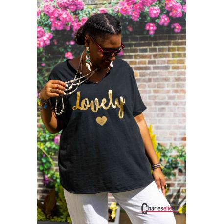 T-shirt coton femme grande taille été bohème LOVELY noir Tee shirt femme
