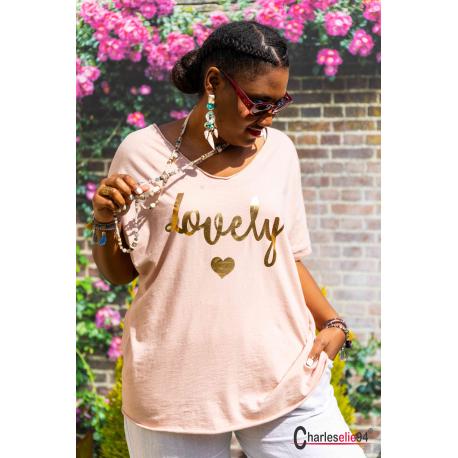 T-shirt coton femme grande taille été bohème LOVELY rose Tee shirt femme