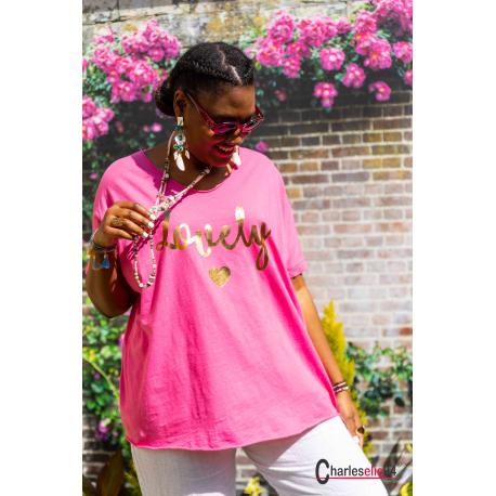 T-shirt coton femme grande taille été bohème LOVELY fushia Tee shirt femme