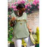 T-shirt coton femme grande taille été bohème LOVELY kaki Tee shirt femme