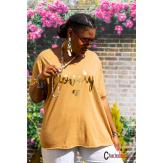 T-shirt coton femme grande taille été bohème LOVELY camel Tee shirt femme