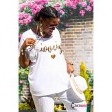 T-shirt coton femme grande taille été bohème LOVELY blanc Tee shirt femme