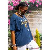 T-shirt coton femme grande taille été bohème LOVELY bleu marine Tee shirt femme