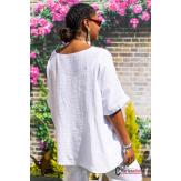 Tunique lin été bohème grandes tailles BINGO blanche Tunique lin femme