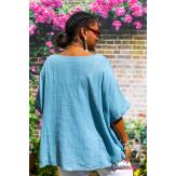 Tunique lin été bohème grandes tailles BINGO bleu jean Tunique lin femme