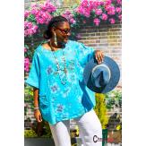 Tunique lin été bohème grandes tailles BINGO bleu turquoise Tunique lin femme