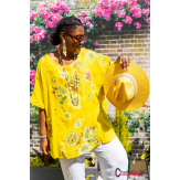 Tunique lin coton été bohème grandes tailles BINGO jaune Tunique lin femme