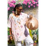 Tunique lin coton été bohème grandes tailles BINGO rose Tunique lin femme