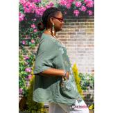 Tunique lin coton été bohème grandes tailles BINGO kaki Tunique lin femme