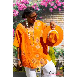 Tunique lin coton été bohème grandes tailles BINGO orange Tunique lin femme