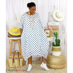 Robe boule longue été lin grandes tailles GIRO blanche Vêtement lin femme grandes tailles