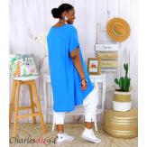 Tunique t-shirt long été femme grandes tailles SILVER bleu royal Tee shirt tunique femme grande taille