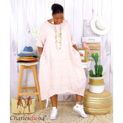 Robe boule longue été lin grandes tailles GIRO rose Vêtement lin femme grandes tailles