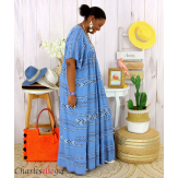 Robe longue été femme grande taille ethnique SHIVA bleu jean Robe longue grande taille