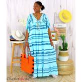 Robe longue été femme grande taille ethnique SHIVA bleu turquoise Robe longue grande taille