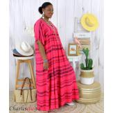 Robe longue été femme grande taille ethnique SHIVA fushia Robe longue grande taille